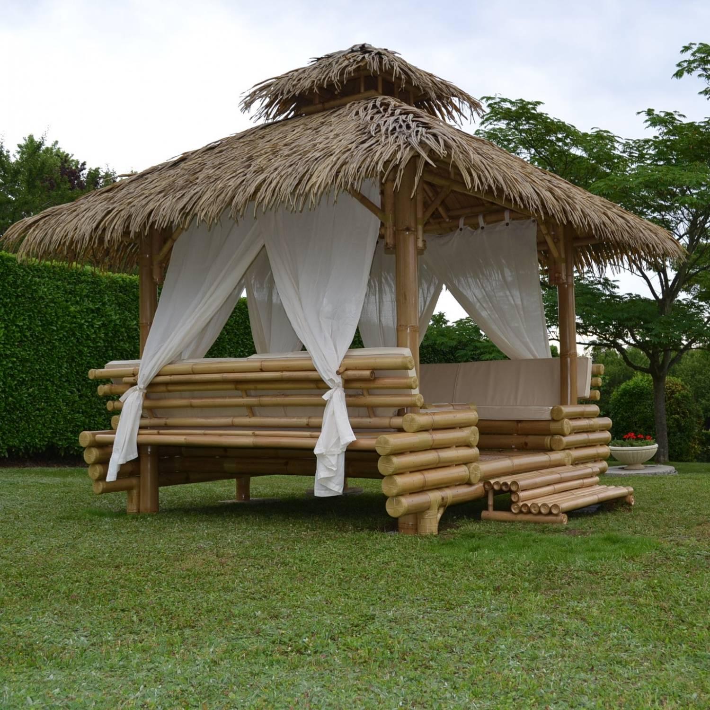 Gazebo Bambou Ou Paillote Bambou, Salon De Jardin, Pergola ... tout Salon De Jardin En Bambou