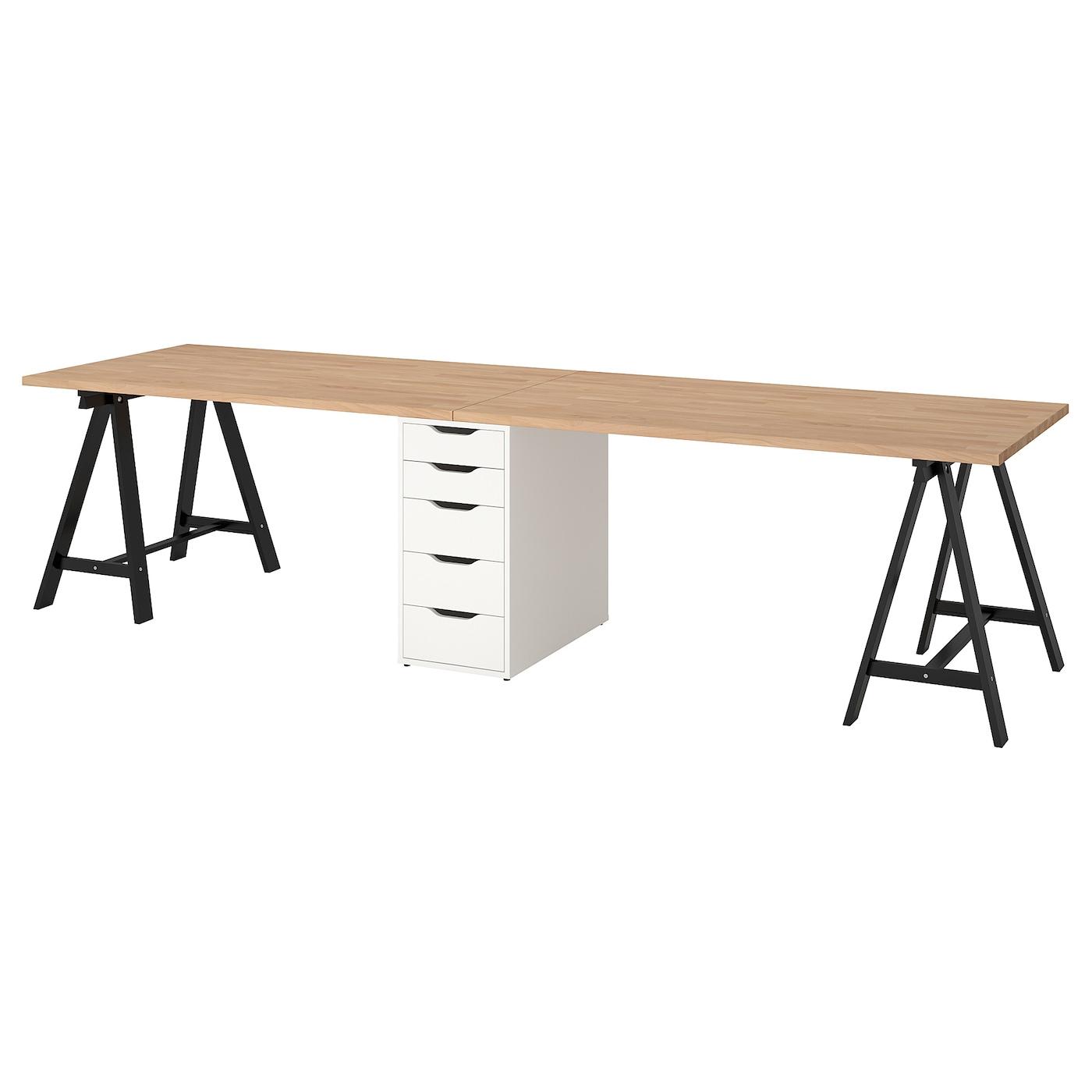 Gerton Table - Hêtre, Noir Blanc 310X75 Cm tout Table Jardin Plastique Ikea