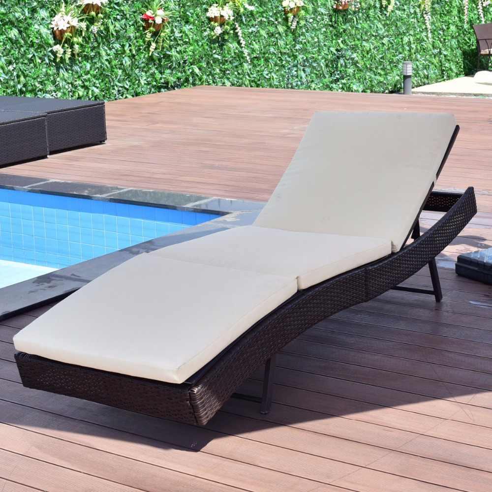 Giantex Veranda Güneş Yatağı Ayarlanabilir Havuz Hasır ... destiné Salon De Jardin But