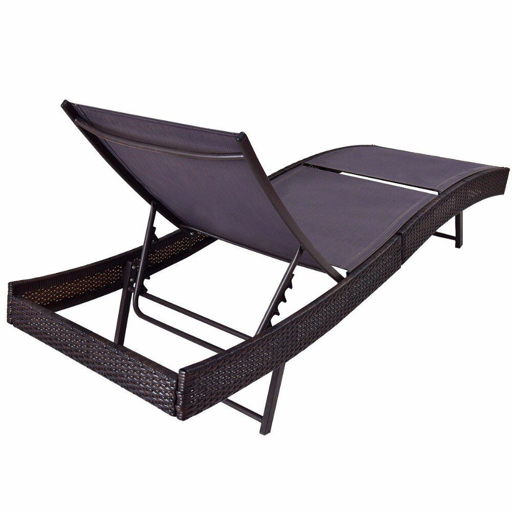 Giantex Veranda Güneş Yatağı Ayarlanabilir Havuz Hasır ... serapportantà Table De Jardin Discount