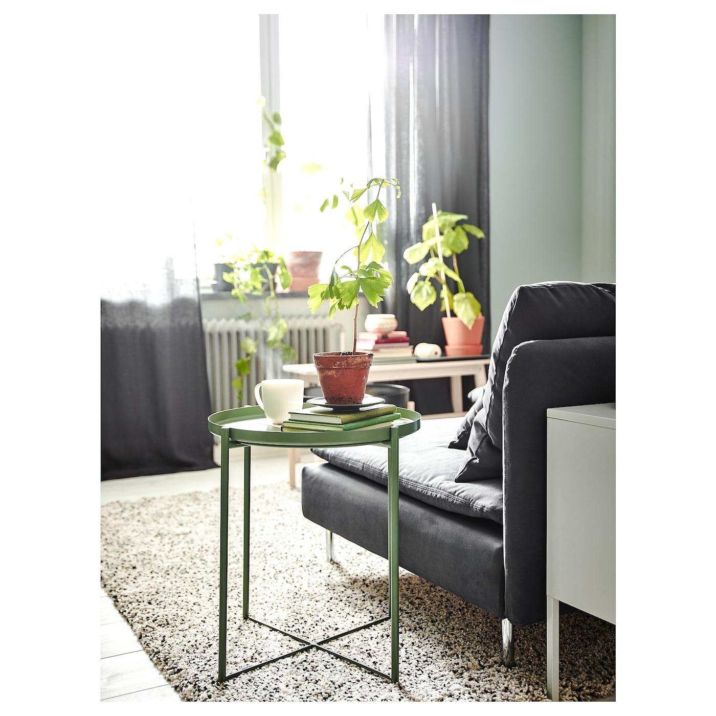 Gladom Table/plateau - Vert Foncé 45X53 Cm avec Table Basse De Jardin Ikea