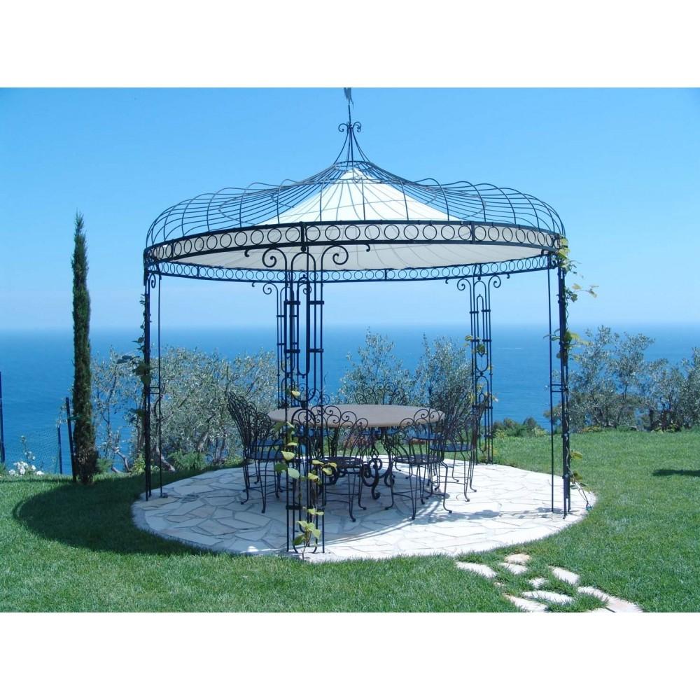 Gloriette Et Tonnelle De Jardin Ronde, En Fer Peint, Structure D'extérieur pour Tonnelle De Jardin Fer Forgé