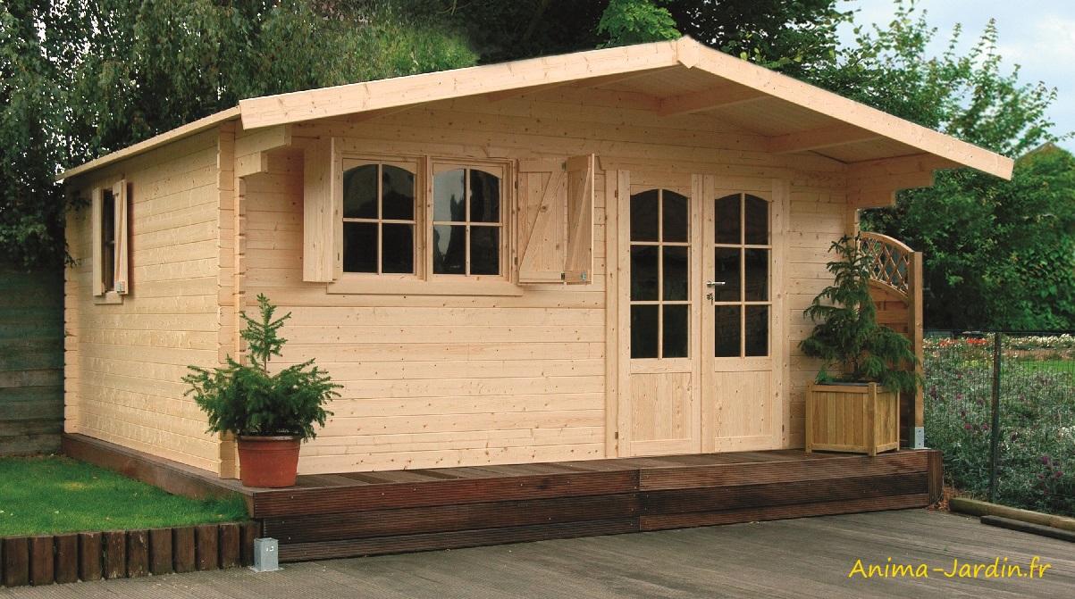 Grand Abri De Jardin En Bois 40Mm, Habitable, Chamonix, 18M² ... intérieur Cabane De Jardin En Bois Pas Cher