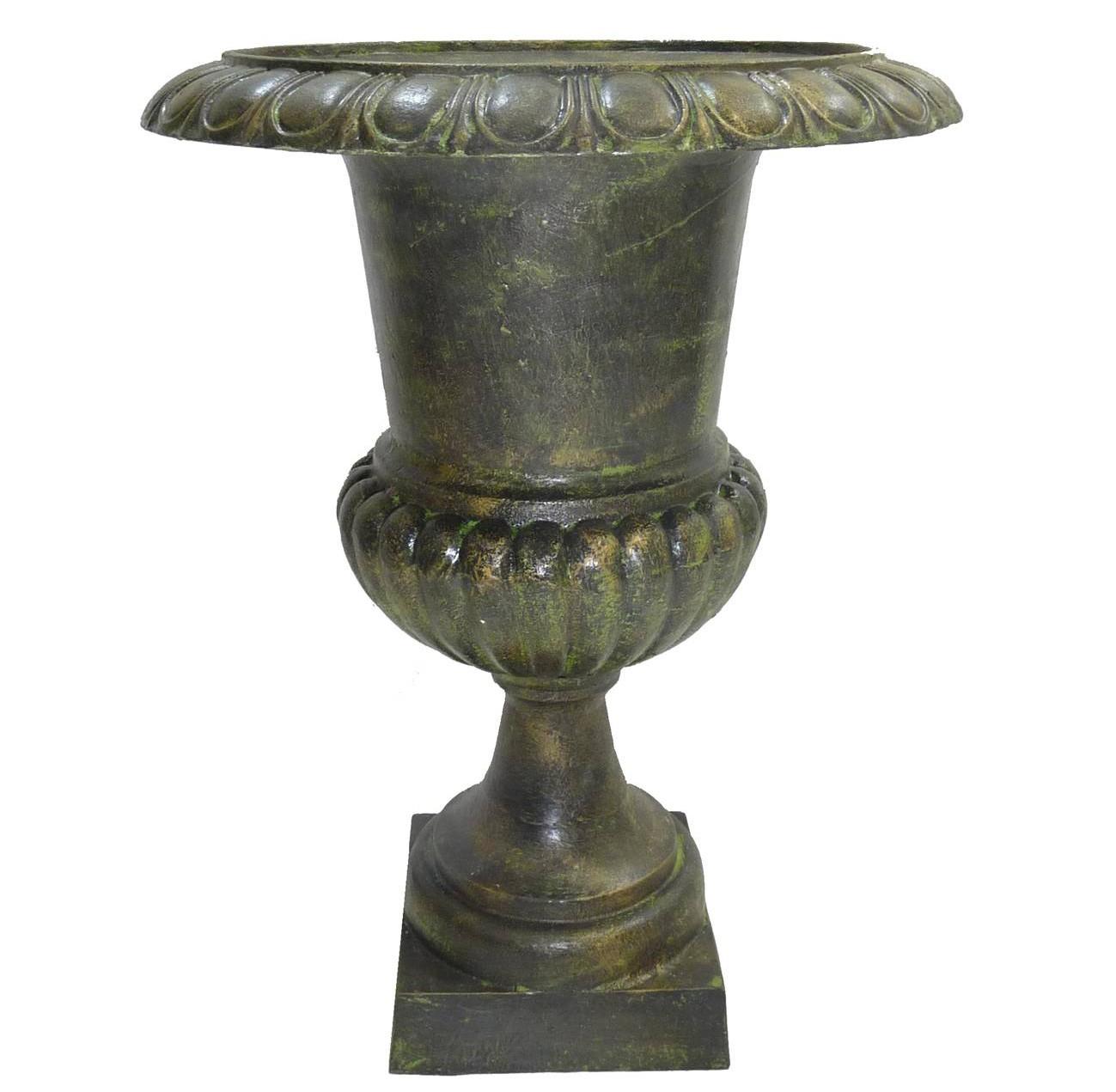 Grand Vase Xxl Vasque Jardiniere En Fonte Vert Anglais Style Medicis Pot De  Fleur 58X58X76Cm tout Pot En Fonte Pour Jardin
