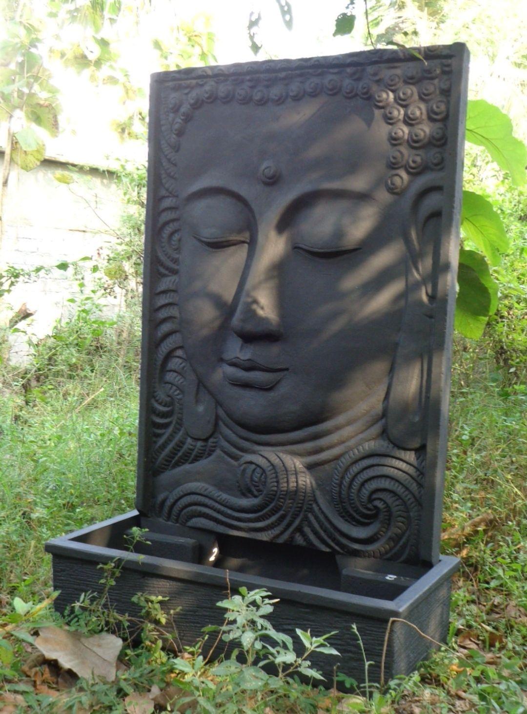 Grande Fontaine De Jardin Mur D'eau Visage De Bouddha 2M 10 ... pour Fontaine De Jardin Bouddha