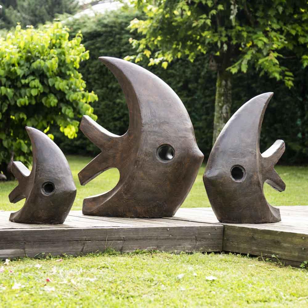 Grande Sculpture Moderne Poisson 100 Cm Brun pour Sculpture Moderne Pour Jardin