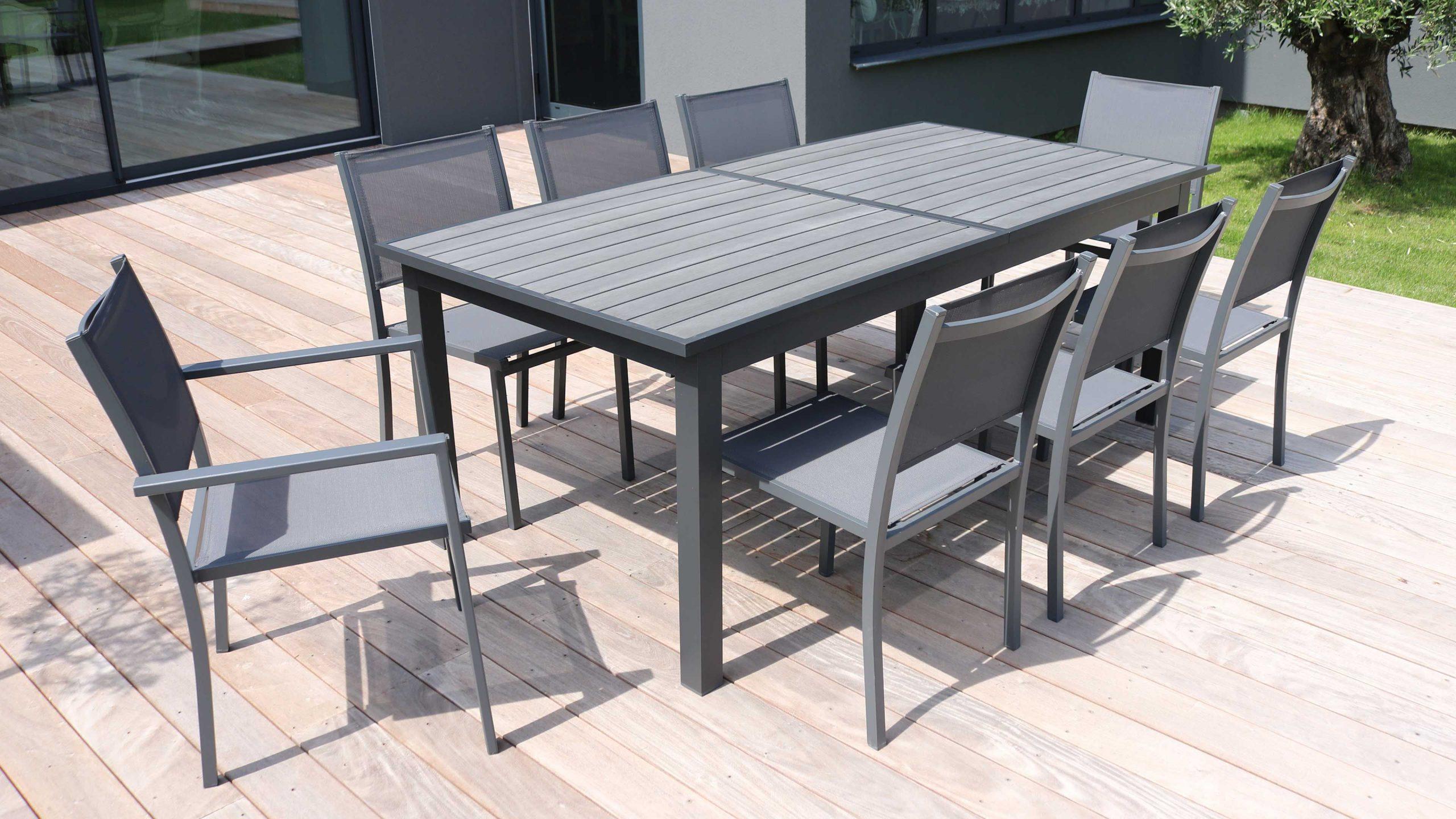 Grande Table De Jardin Extensible Aluminium Et Bois Composite tout Table De Jardin Aluminium Et Composite
