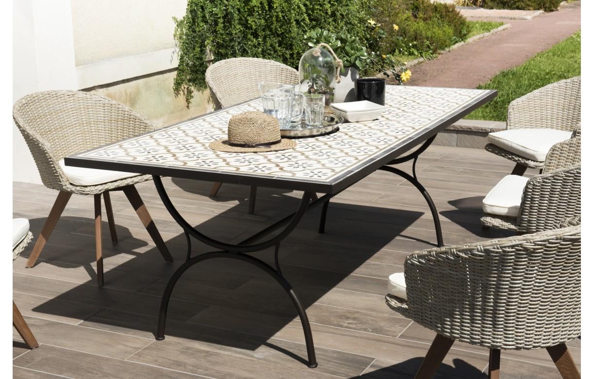 Grande Table De Jardin Mosaïque Avec 6 Chaises En Rotin Nang ... serapportantà Salon De Jardin Mosaique