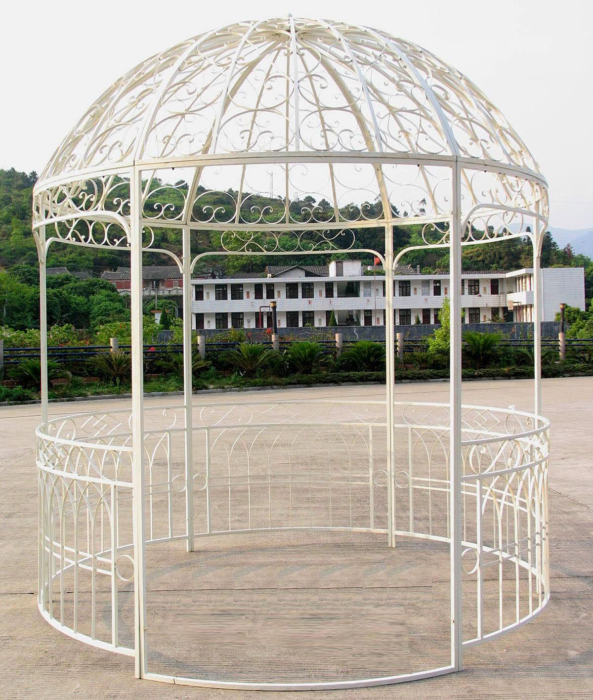 Grande Tonnelle Kiosque De Jardin Pergola Abris Rond Gloriette En Fer Forgé  Blanc 250X250X290Cm avec Kiosque De Jardin En Fer Forgé