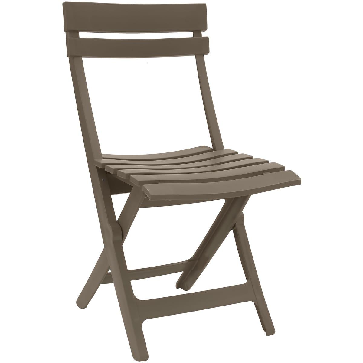 Grosfillex Chaise De Jardin Pliante Résine Miami Taupe pour Table De Jardin Auchan