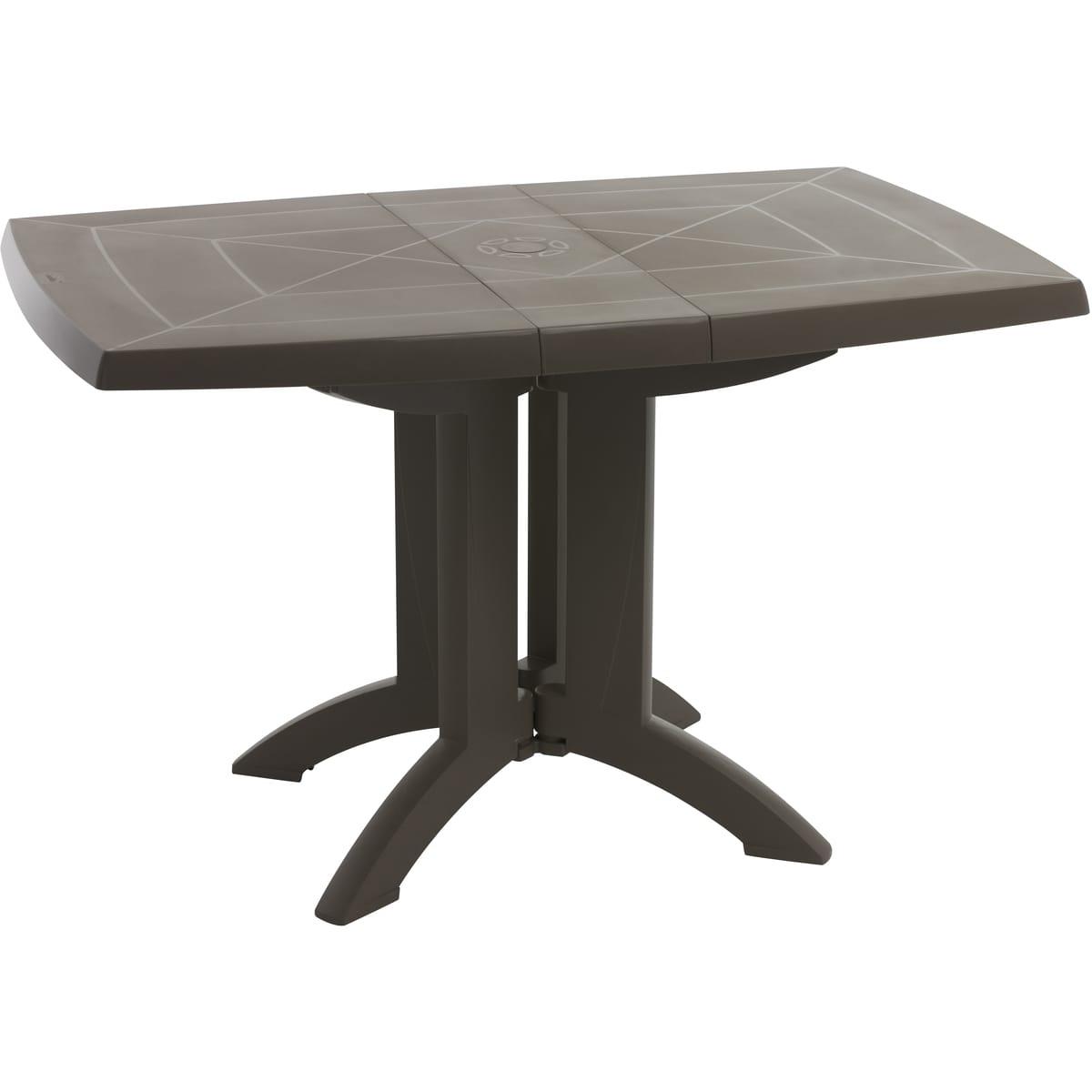 Grosfillex Table De Jardin Pliante 118X77Cm Résine Taupe Vega serapportantà Chaise De Jardin Auchan