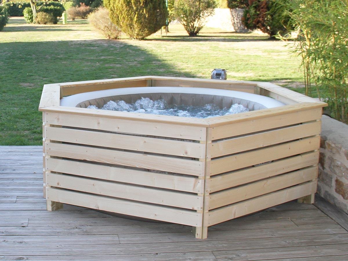 Habillage En Bois Spa Gonflable Intex - Aquazendo intérieur Support Abri De Jardin