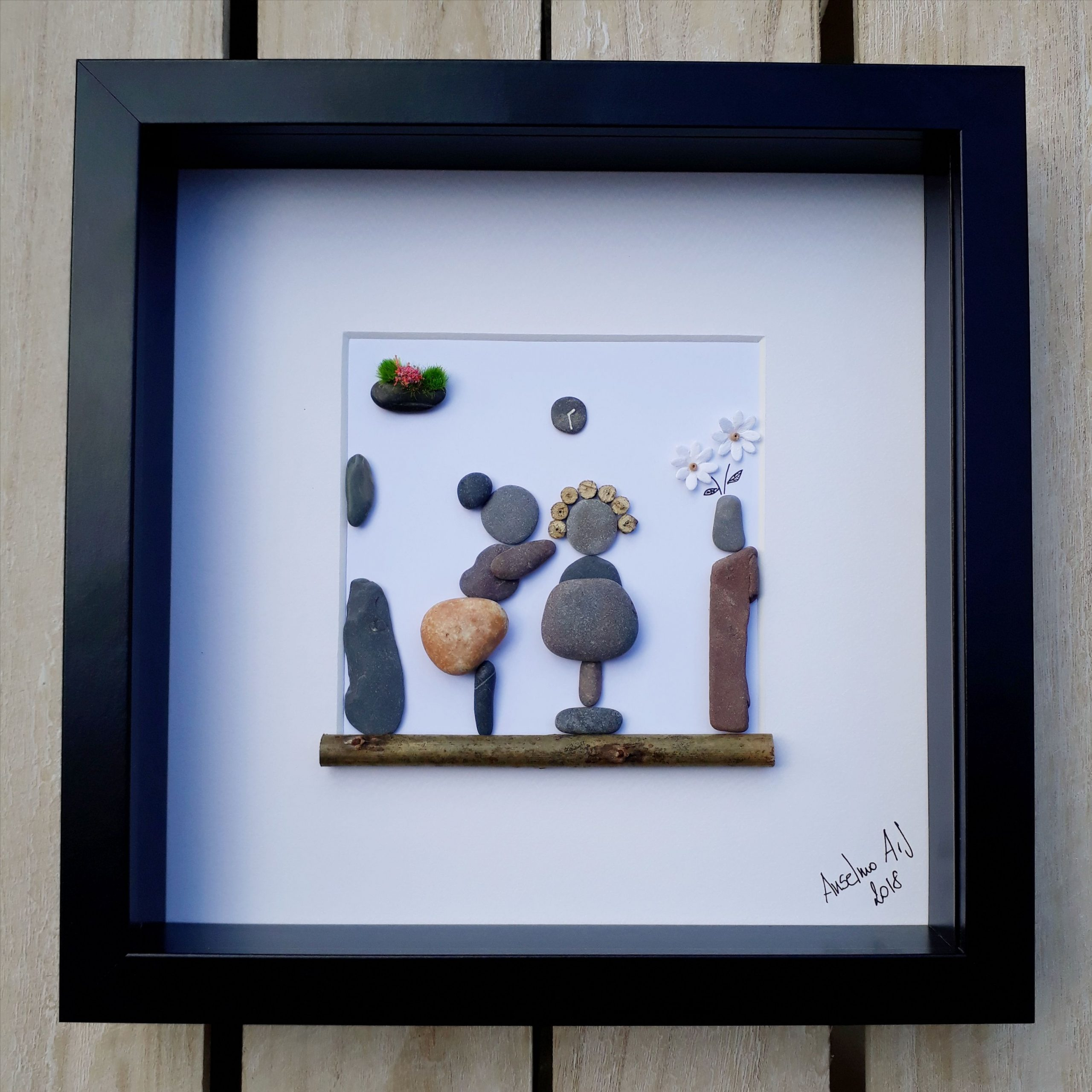 Hairdresser Pebble Picture, Framed Pebble Art, Hair Salon ... destiné Salon De Jardin California