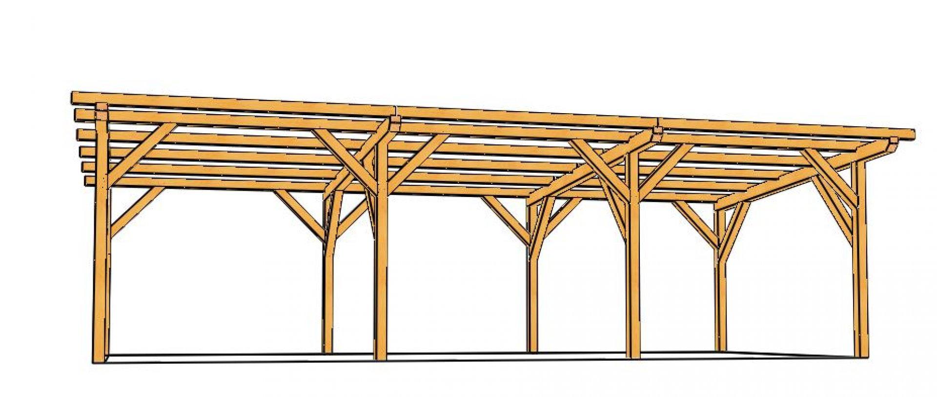 Hangar Bois Monopente (En Sapin Lamellé Collé) À Monter En Kit dedans Construire Un Abri De Jardin En Bois Soi Meme