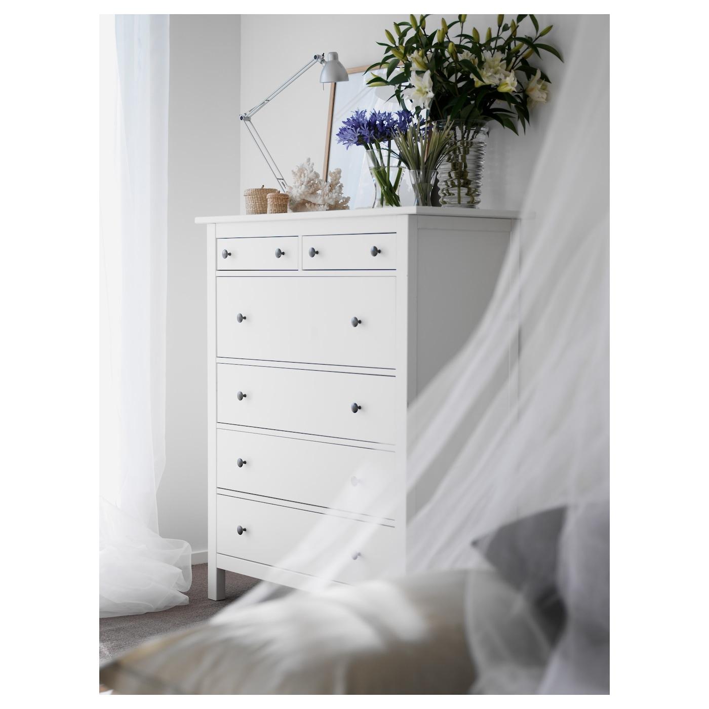 Hemnes Commode 6 Tiroirs - Teinté Blanc 108X131 Cm tout Armoire De Jardin Ikea