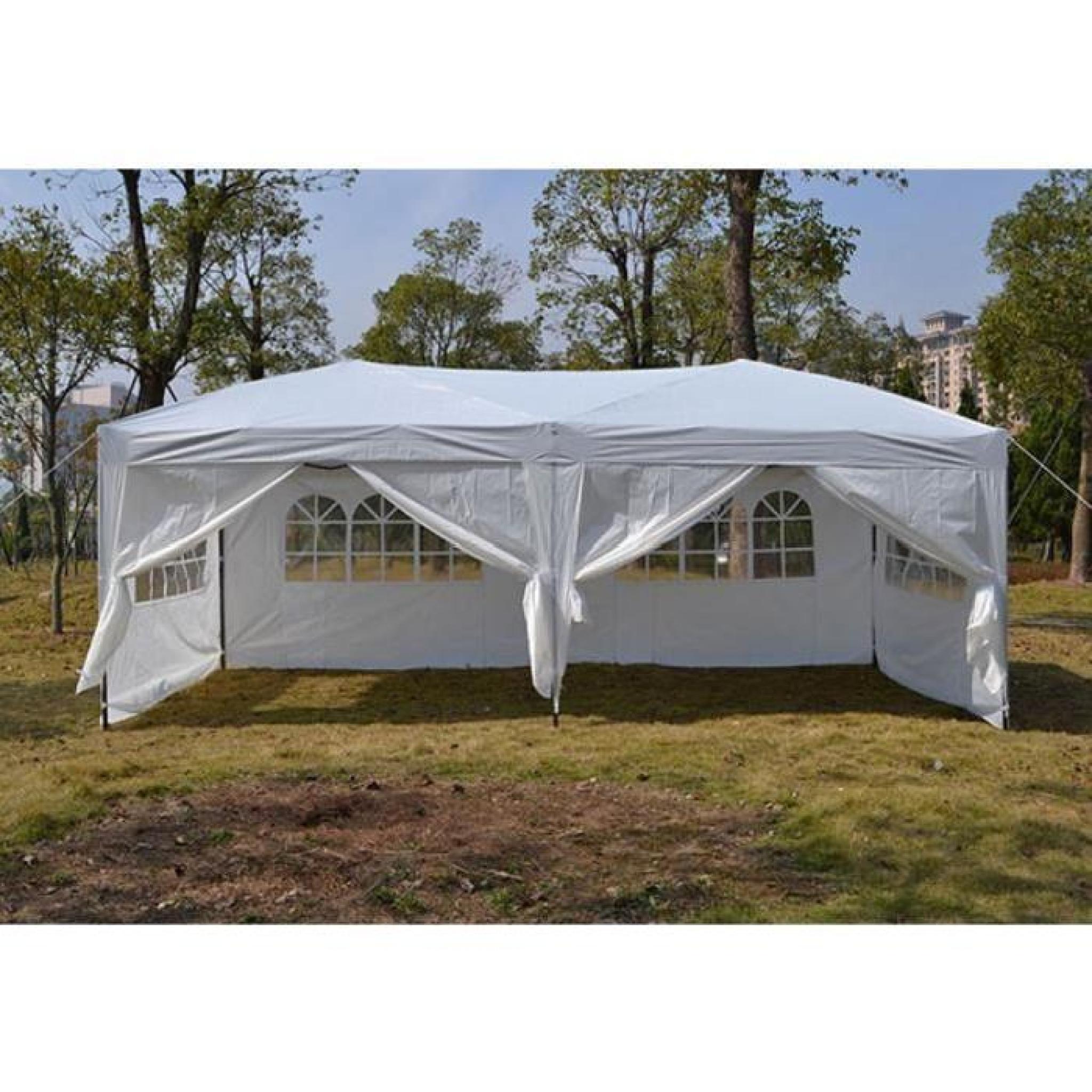 Homdox 3 X 6M Tente Tonnelle Pliante Polyester Avec Côté Panneau Tente Pour  Jardin Mariage En Aluminium Tube-Support à Tente De Jardin Pliante