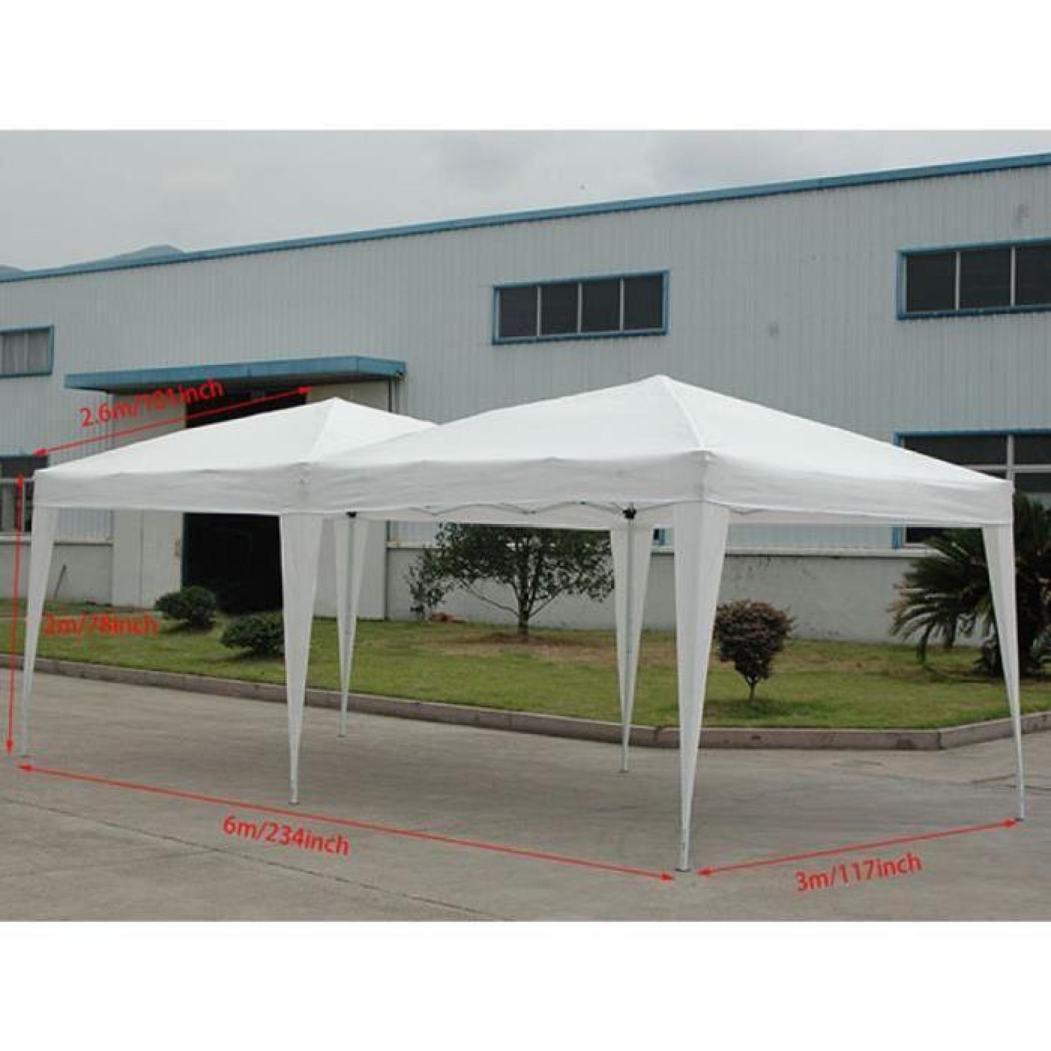 Homdox 3 X 6M Tente Tonnelle Pliante Polyester Avec Côté Panneau Tente Pour  Jardin Mariage En Aluminium Tube-Support concernant Tente De Jardin Pas Cher