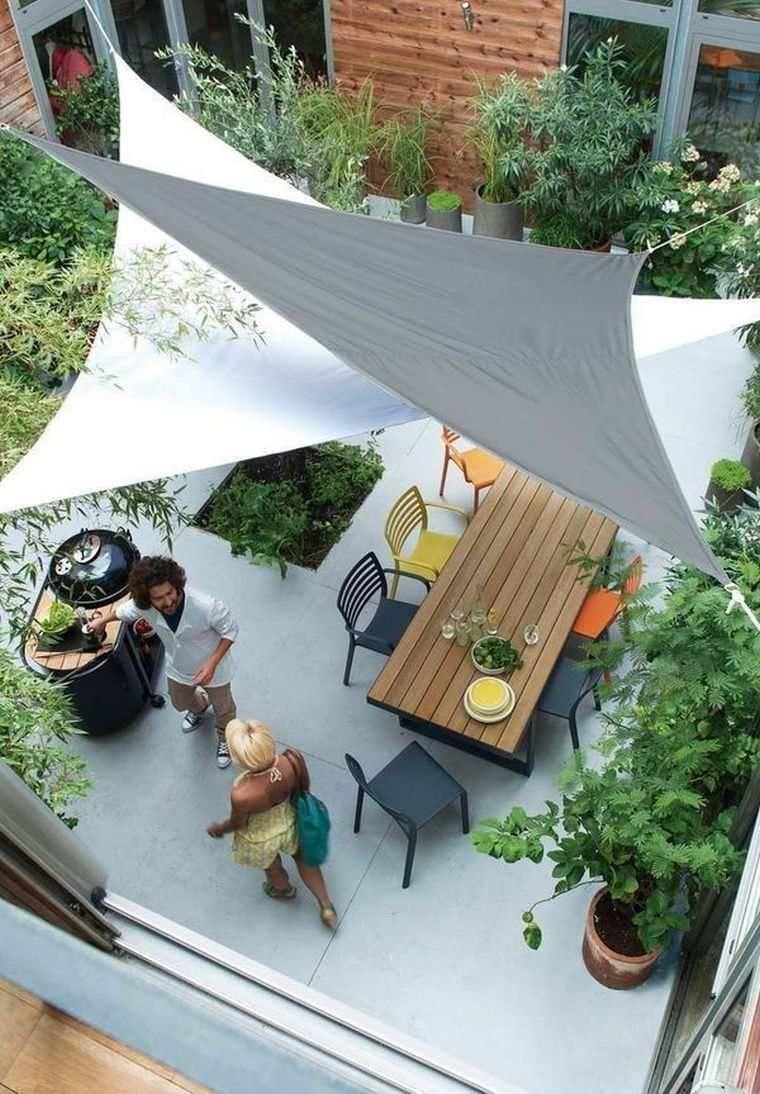 Idee-Deco-Pinterest-Terrasse-Voile-Ombrage-Moderne-Toile ... dedans Toile Tendu Jardin