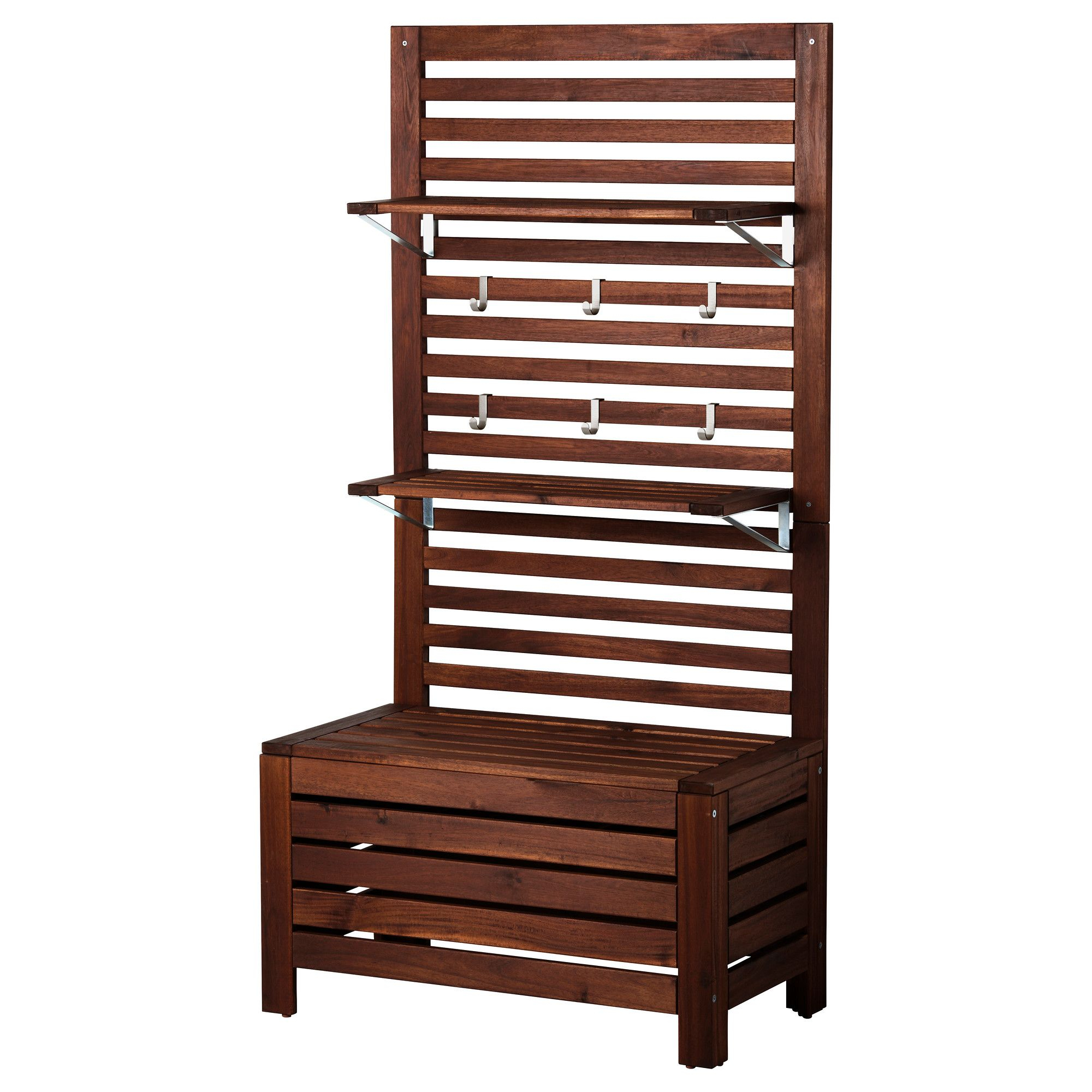 Ikea Applaro Brown Stained Brown Bench W/panel And Shelves ... tout Coffre Jardin Ikea