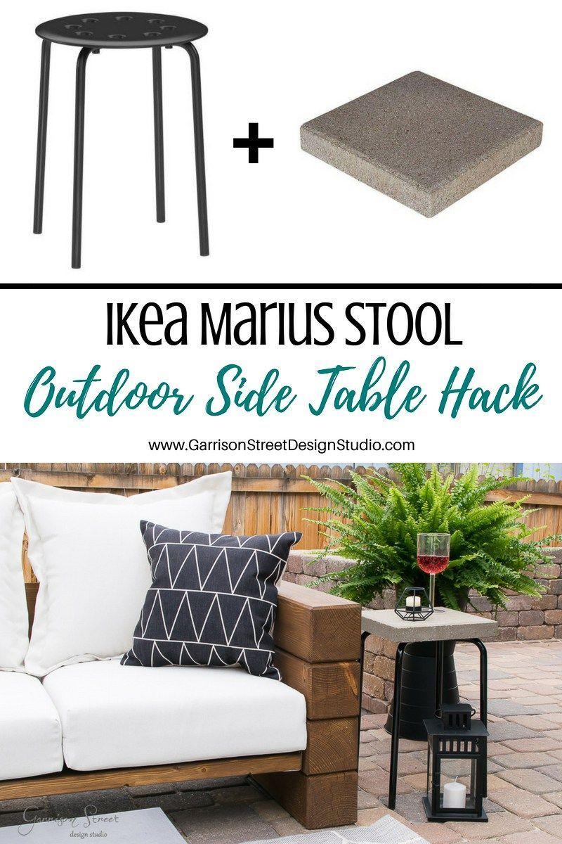 Ikea Marius Stool Outdoor Side Table Hack | Ikea Patio ... destiné Coffre Jardin Ikea