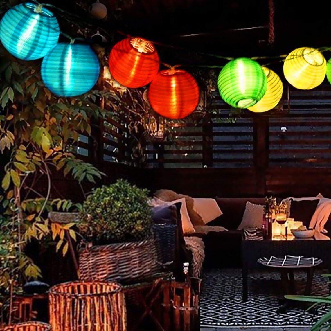 Iluminación De Jardín Guirlande À Led 10 Lampions Intérieur ... tout Lampion Jardin