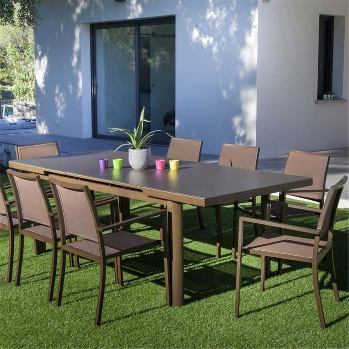 Jacinthe Table De Jardin Extensible Marron En Verre Texturé ... destiné Cdiscount Table De Jardin