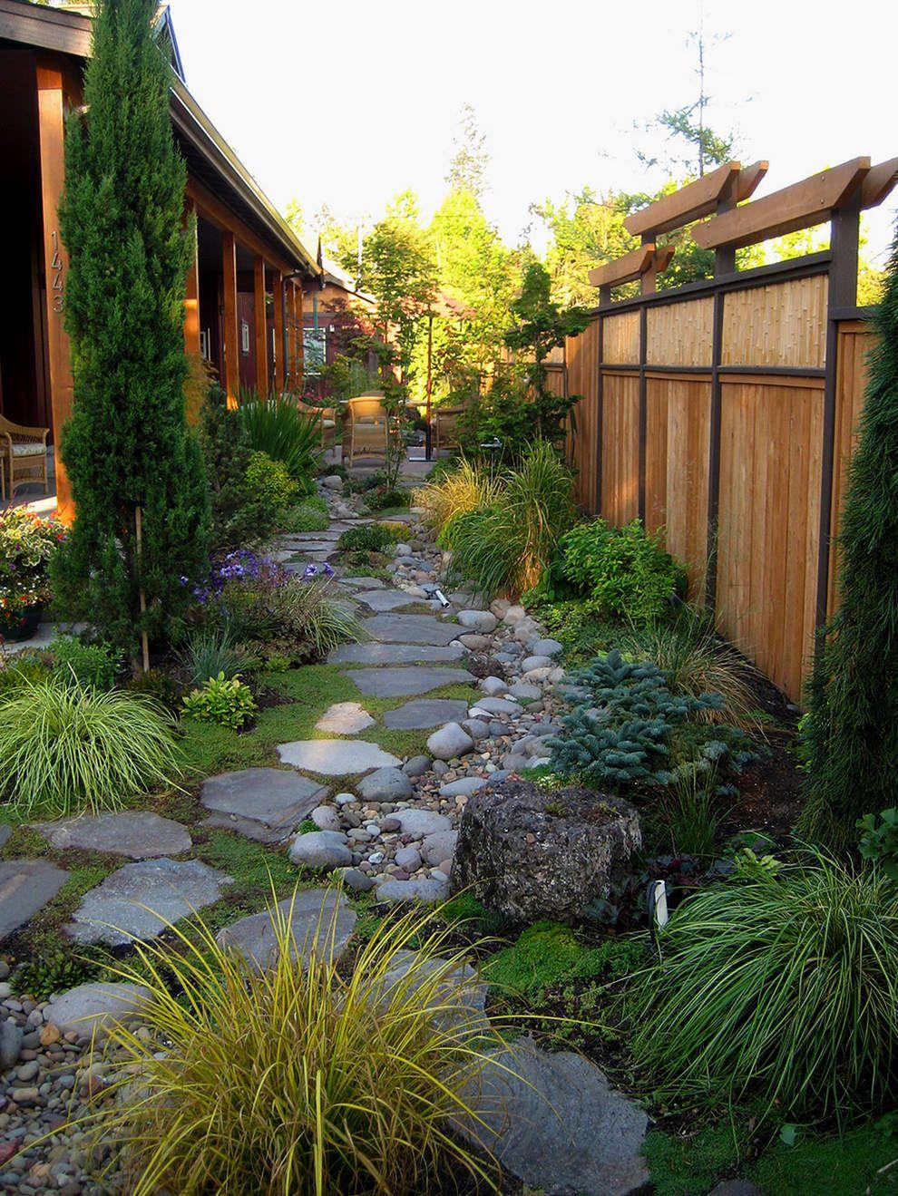 Jardin Avec Pas Japonais Et Vegetation | Idée Aménagement ... concernant Amenagement Jardin Avec Pierres