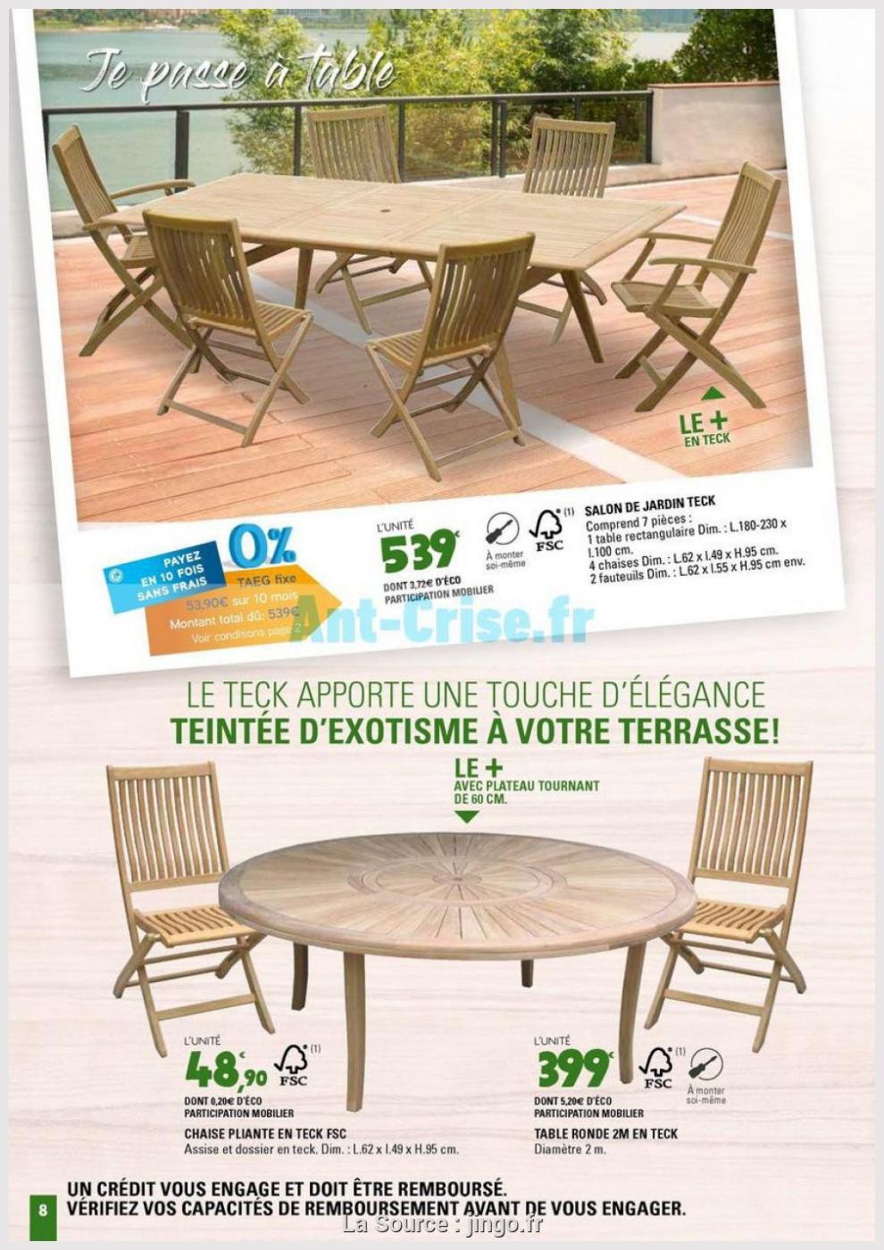 Jardin Belle Teck De Leclerc 2M 8 Table Ronde Sjzplugqmv dedans Table Et Chaises De Jardin Leclerc