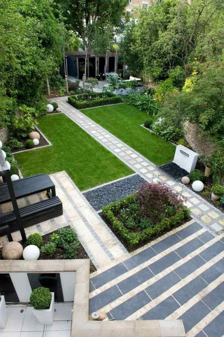 Jardin Moderne Avec Galet Parterre Gravier Simple Modele De ... tout Modele De Jardin Avec Galets