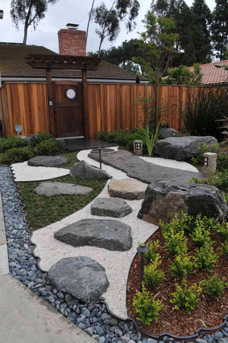 Jardin-Paysager-Deco-Zen-Gravier-Cailloux-Style-Japonais ... serapportantà Idee Deco Jardin Gravier