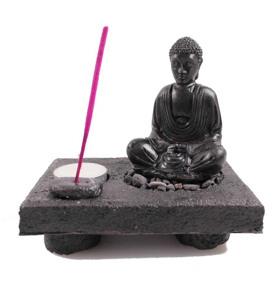 Jardin Zen Japonais Bouddha En Méditation Porte-Encens Et ... avec Jardin Zen Belgique
