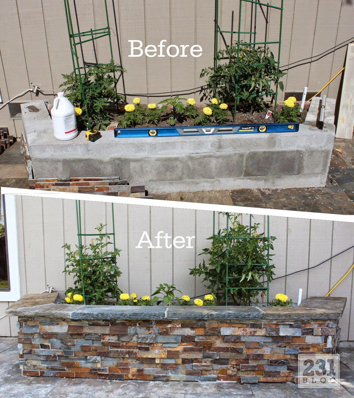 Jardiniere Bloc Beton Recouverte Brique De Parement Jardin ... concernant Petit Muret En Pierre Pour Jardin