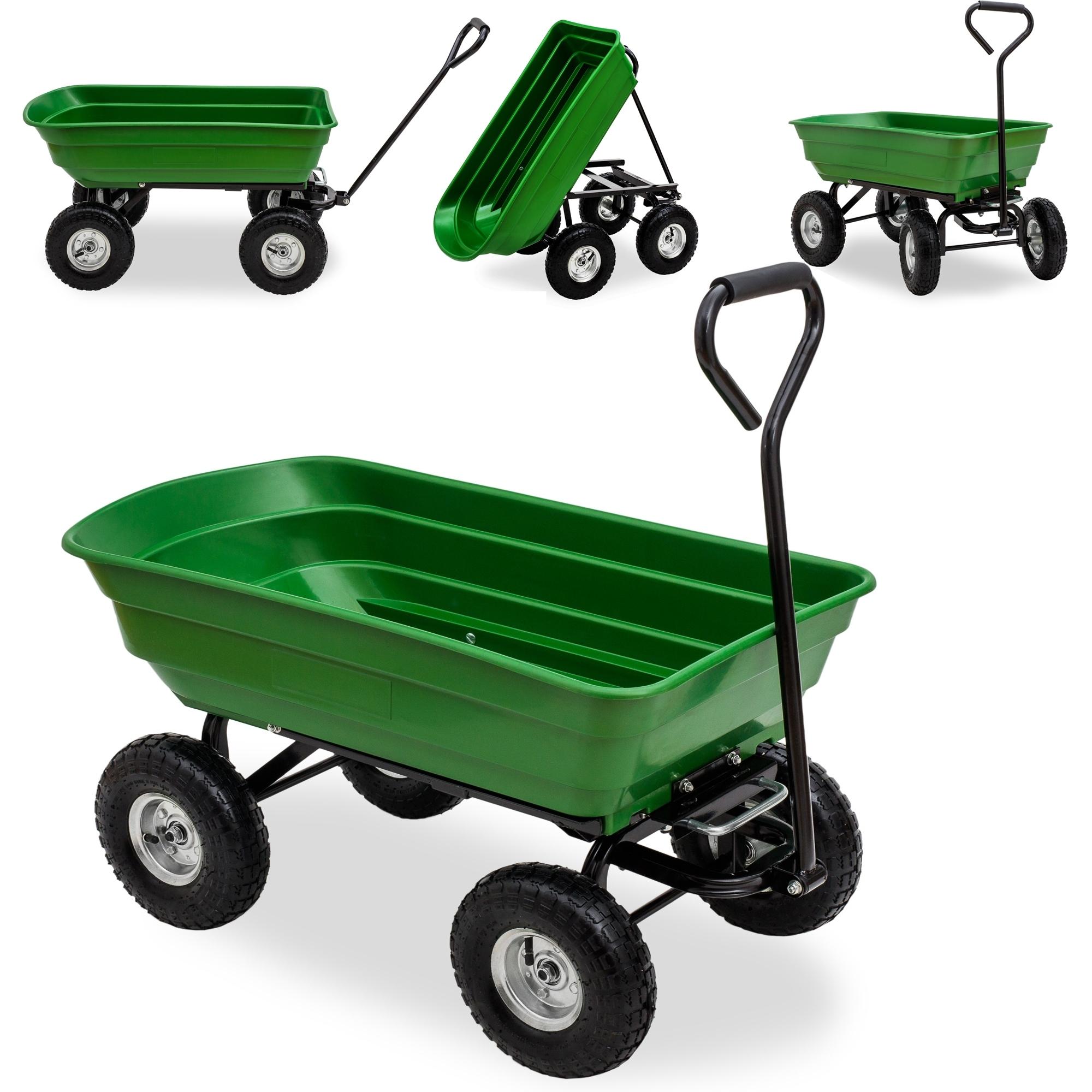 Jom Chariot Benne À Bascule De Jardin Chariot À Main Charette De  Basculement 75L/ 250 Kg serapportantà Chariot De Jardin 4 Roues