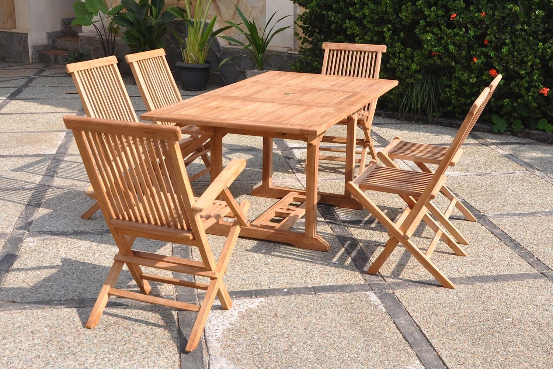 Kajang 6 Rectangle intérieur Table Et Chaise De Jardin En Teck Pas Cher