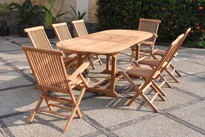 Kajang 8 Ovale serapportantà Table Et Chaise De Jardin En Bois