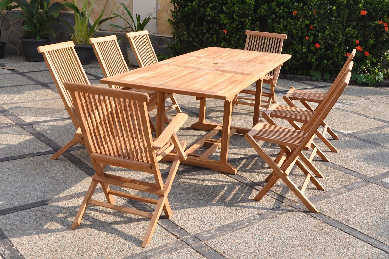 Kajang 8 Rectangle avec Table Et Chaise De Jardin En Teck Pas Cher