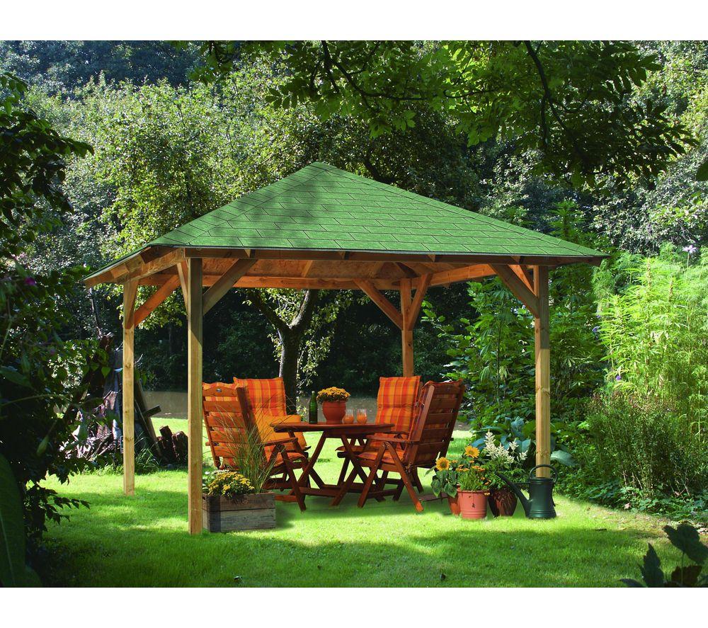 Karibu Tonnelle Cordoba En Bois - Tonnelle Carrefour ... destiné Tonnelle De Jardin Carrefour