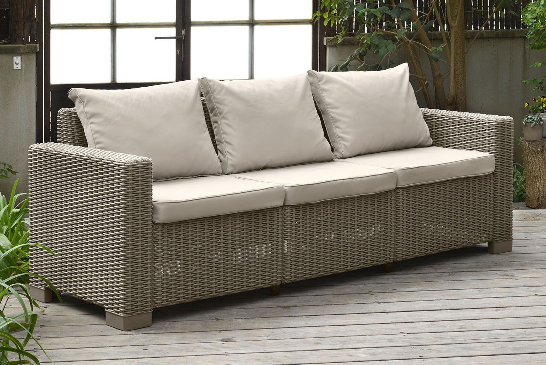 Keter California 3Seater Seating Patio Sofa With Cushions In ... destiné Salon De Jardin Allibert California