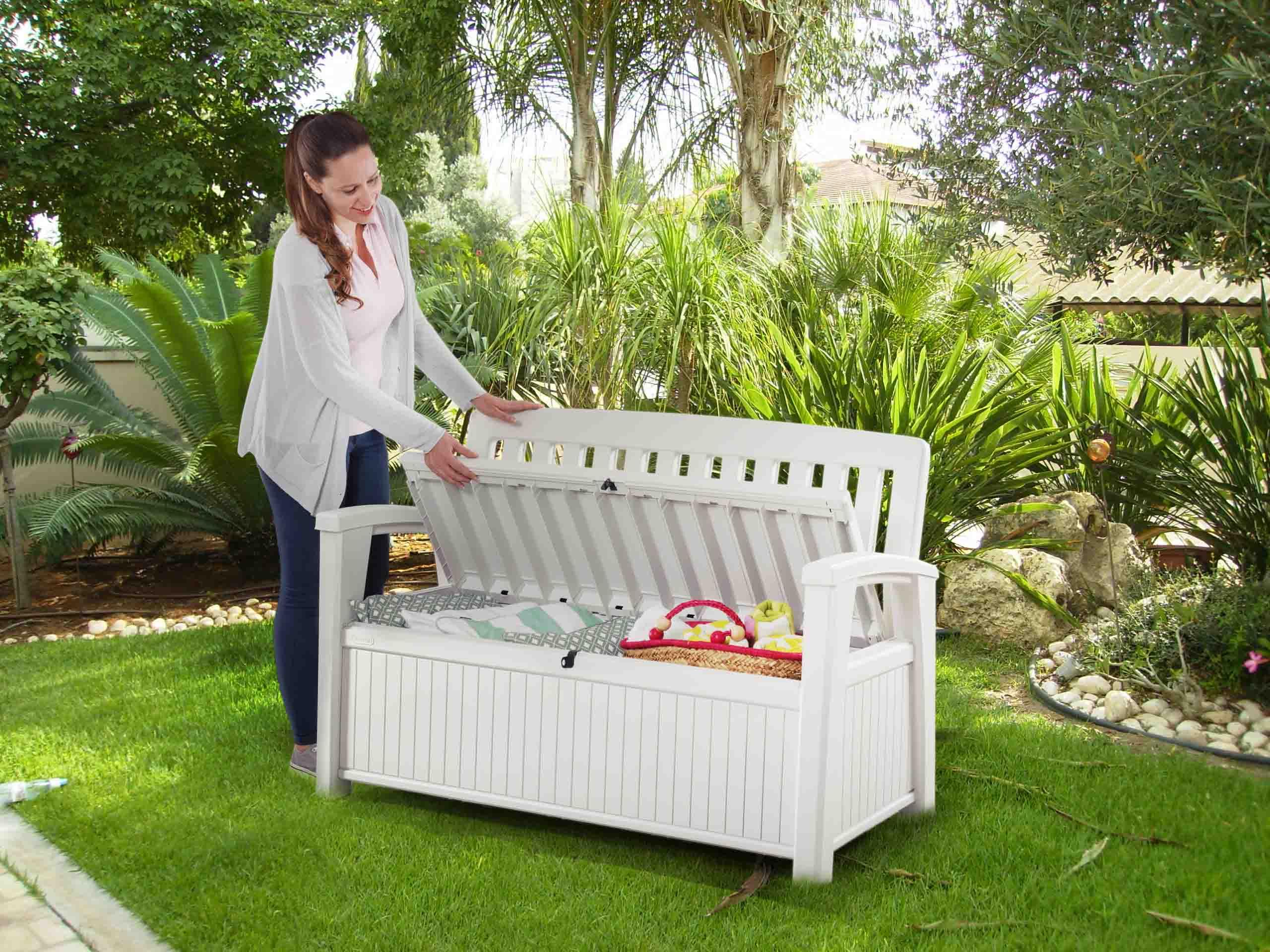 Keter:la Maison Du Jardin Ce Coffre Banc En Résine Patio ... dedans Banc De Jardin En Resine Blanc