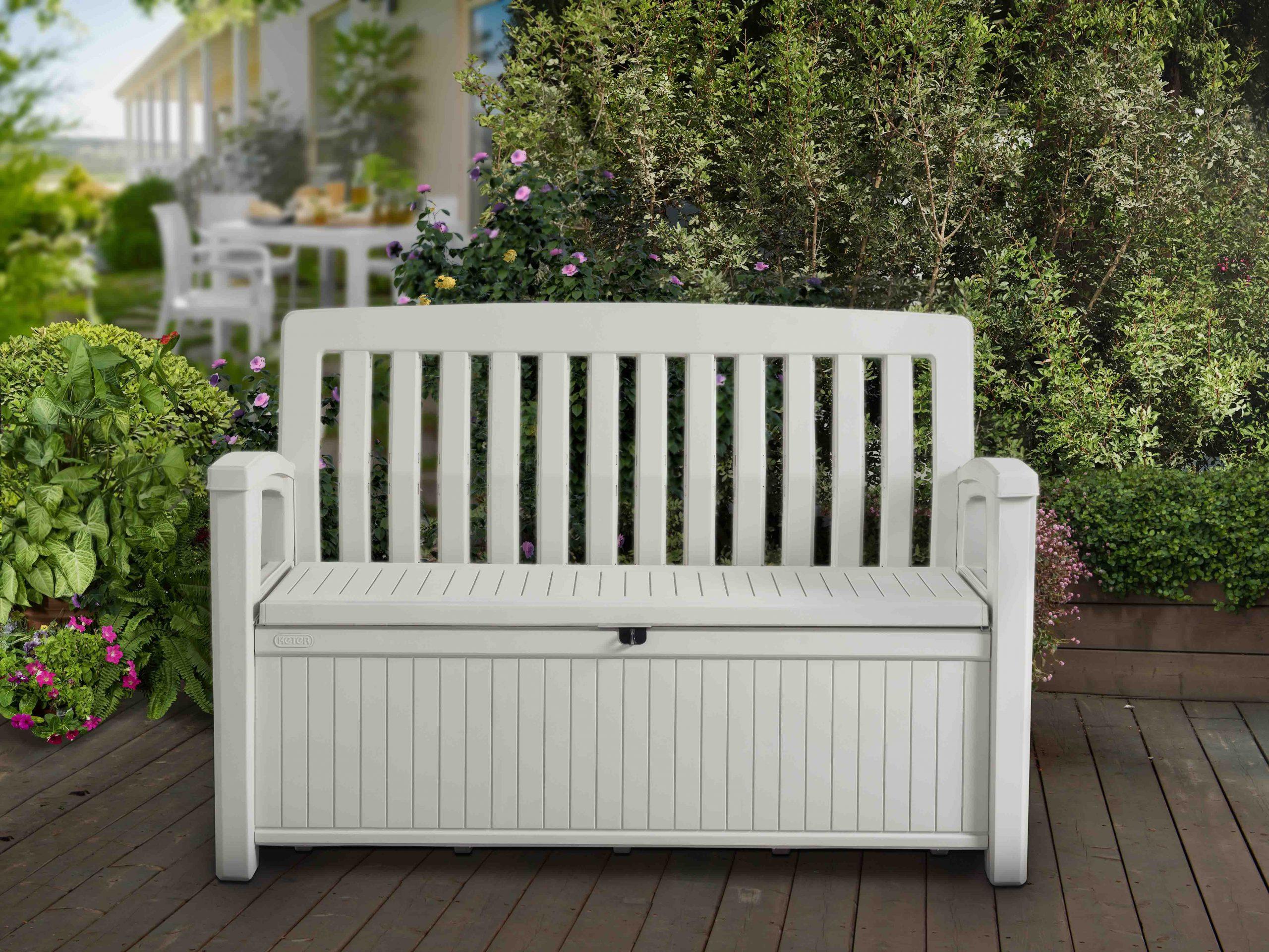Keter:la Maison Du Jardin Ce Coffre Banc En Résine Patio ... tout Banc De Jardin En Resine Blanc