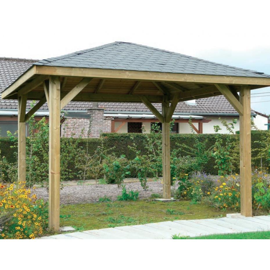 Kiosque De Jardin En Bois Martigues - 347 Cm X 347 Cm à Tonnelle De Jardin En Bois