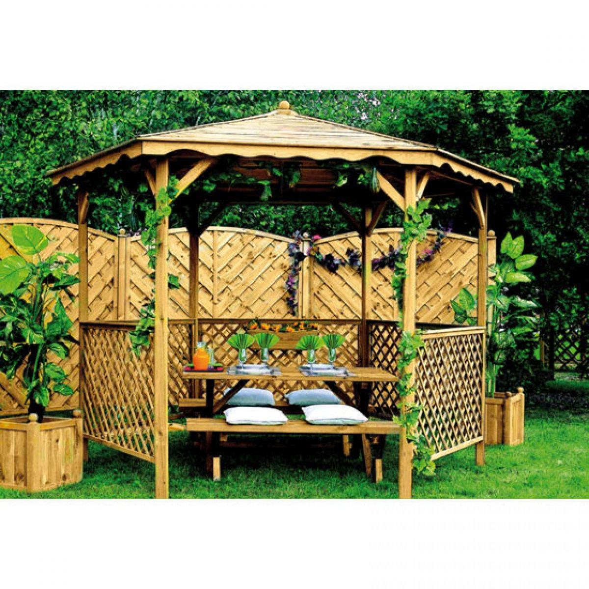 Kiosque De Jardin | Kiosque Jardin, Jardins En Bois Et ... dedans Tonnelle De Jardin Pas Cher Carrefour