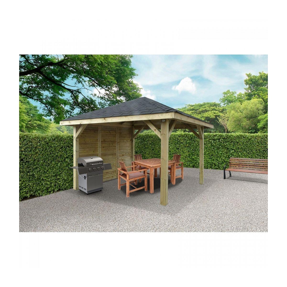 Kiosque En Bois Solid 347X347Cm Avec Une Paroi avec Kiosque De Jardin En Bois Pas Cher