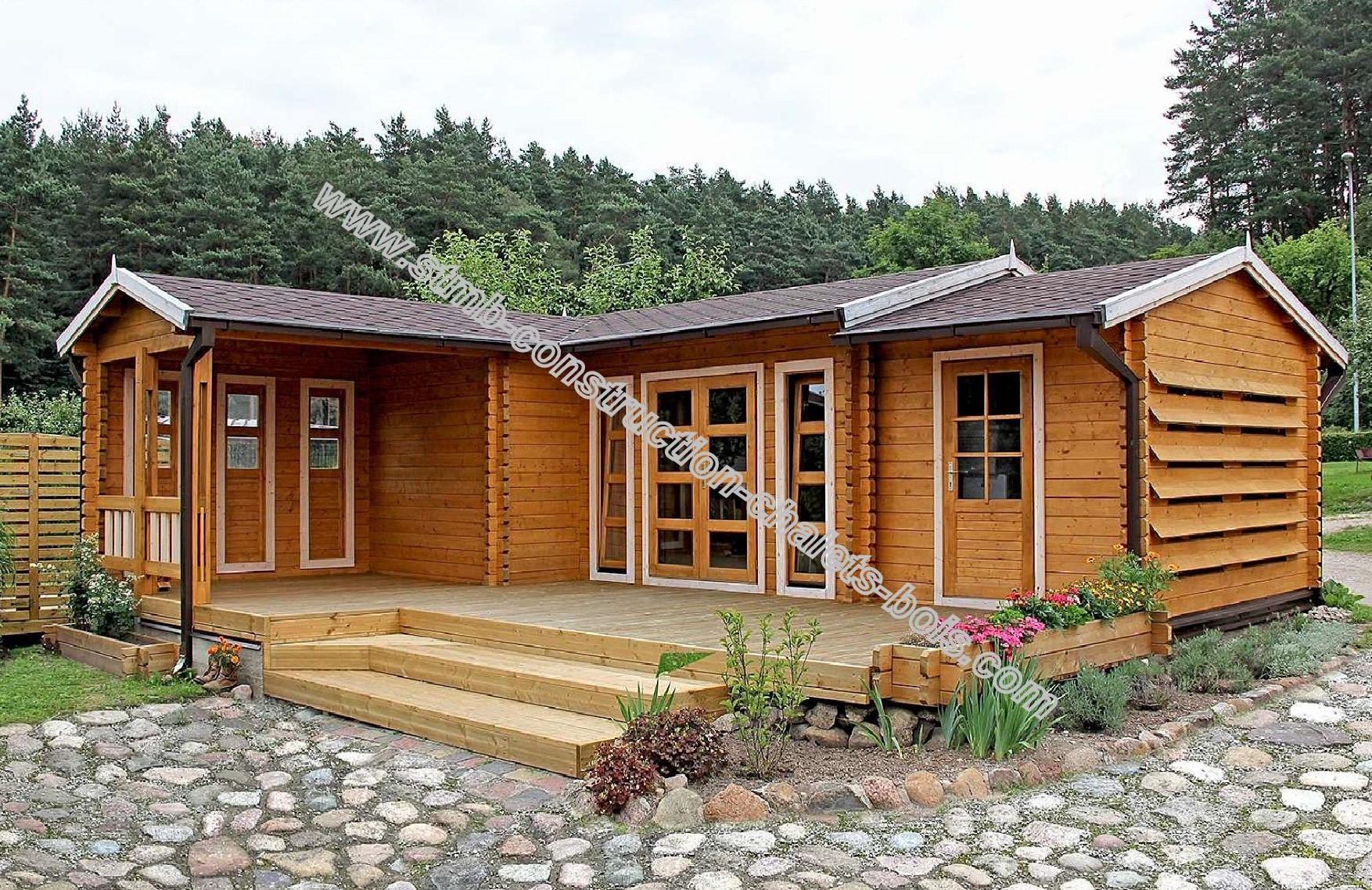 Kit Chalet Bois Habitable Chene 30.50 M² Habitable + Terrasse dedans Abris De Jardin En Kit