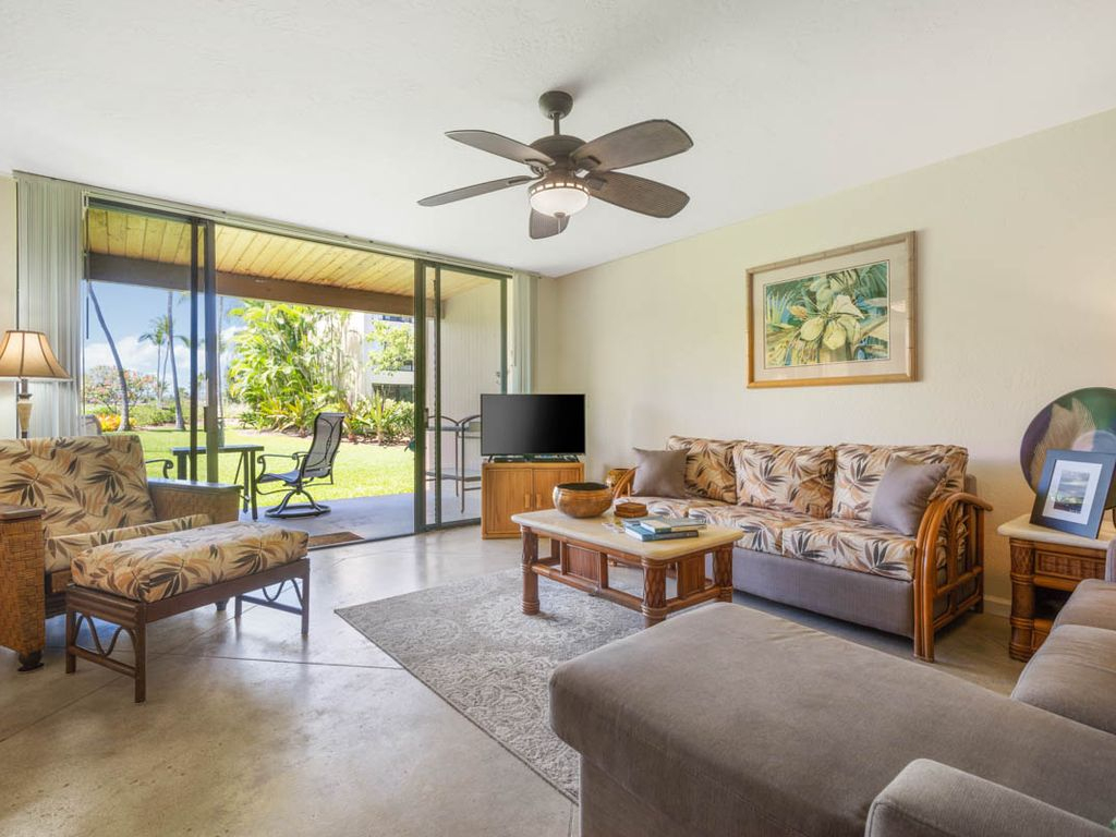 "Kksr7102 Rez De Chaussee, Vue Jardin Et Golf, Sols En Beton, ""honu Hale"" -  Baie De Kahaluu intérieur Salon De Jardin Hawai"