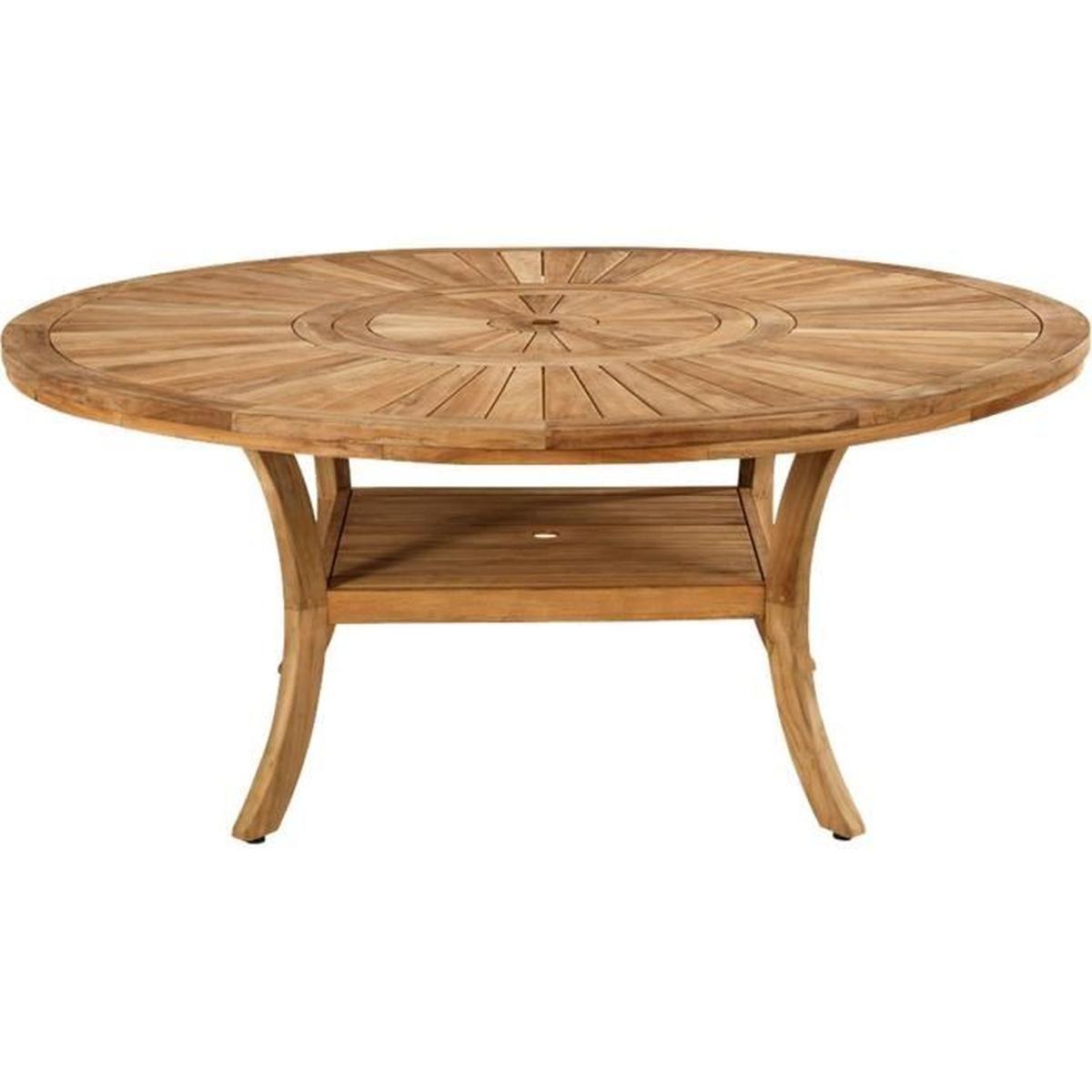 Komodo Table De Jardin En Teck Avec Plateau Tournant (10 À ... tout Table De Jardin Ronde En Bois