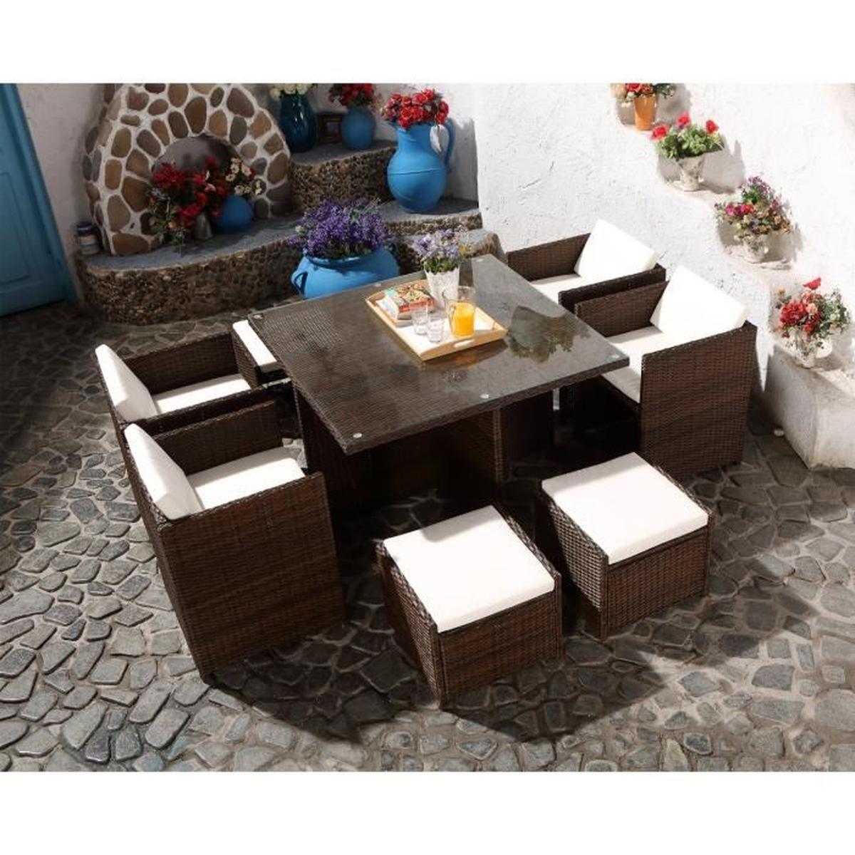 Kudiakof 8 Marron-Blanc : Salon Encastrable 8 Personnes En ... intérieur Cdiscount Salon De Jardin Resine Tressee