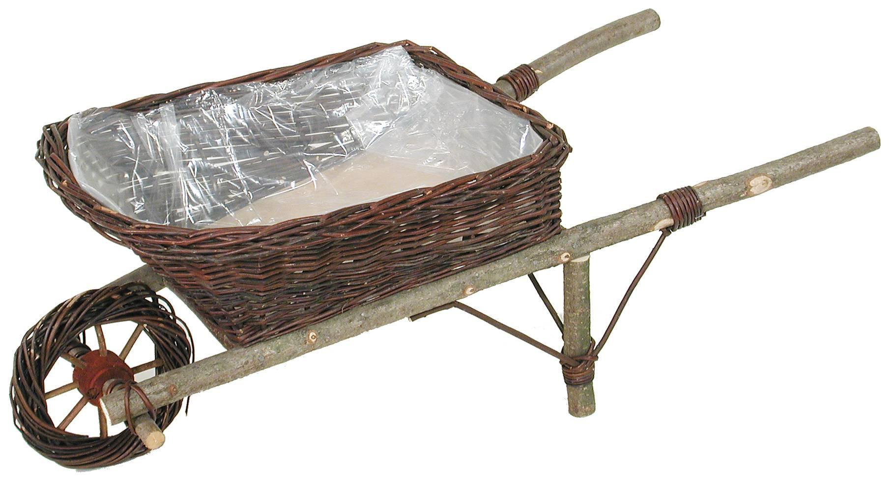 La Vannerie D'aujourd'hui - Jardinière Brouette Décorative Osier Brut serapportantà Brouette Deco Jardin