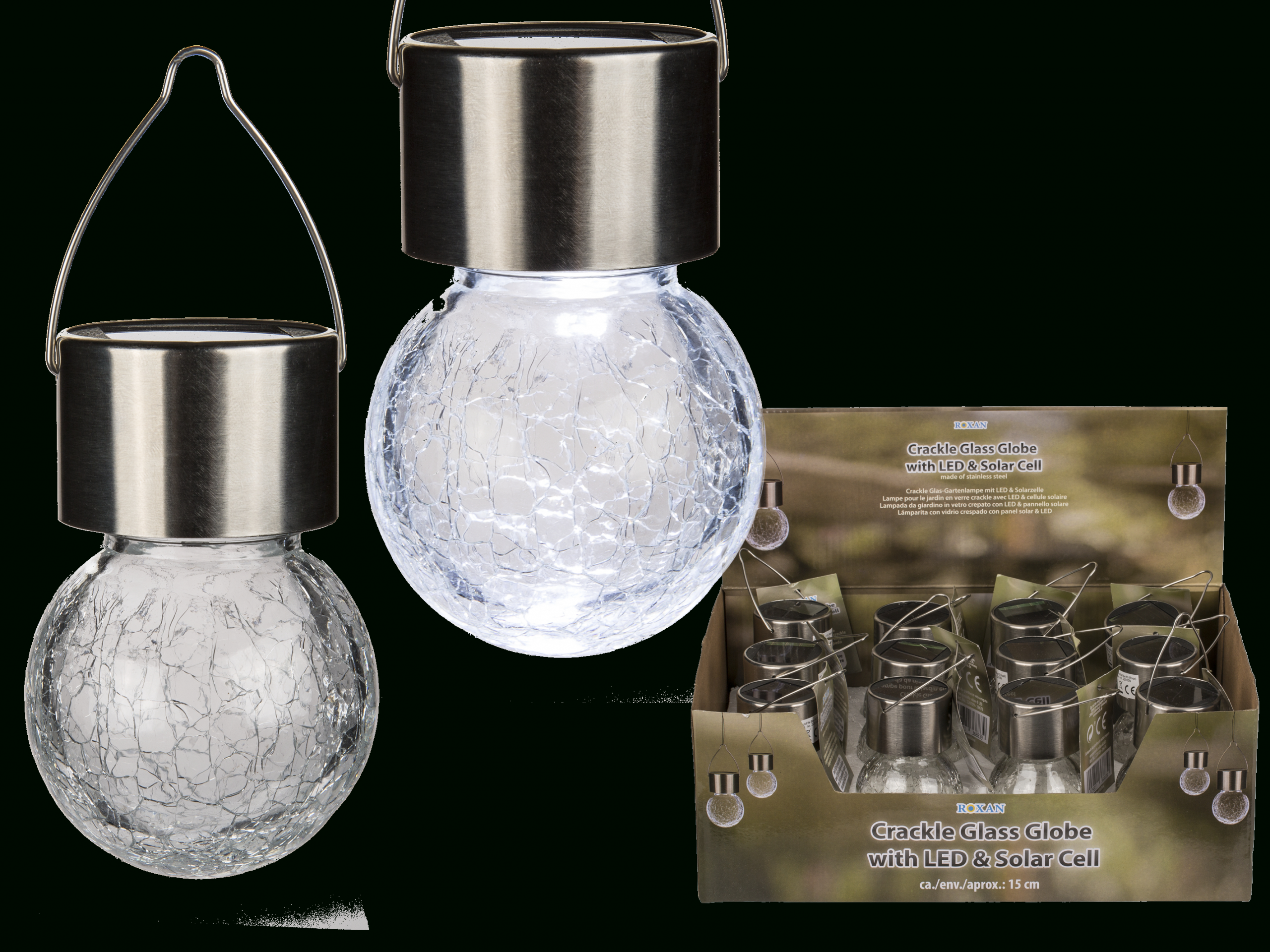 Lampe Pour Le Jardin En Verre Crackle Avec Cellule Solaire ... serapportantà Pile Pour Lampe Solaire De Jardin