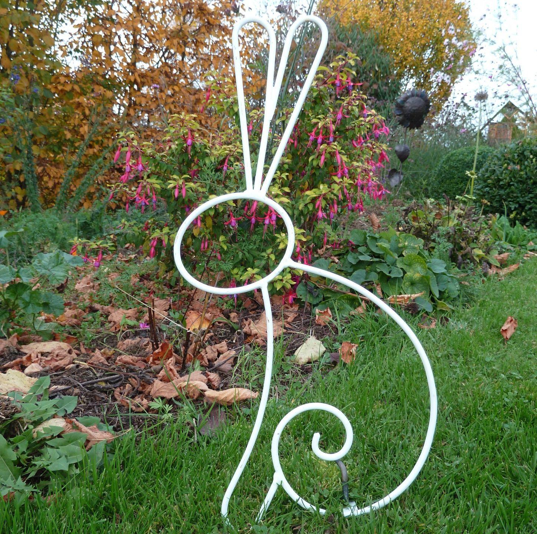 Lapin En Fer Forgé Blanc Pour Décoration De Jardin Ou Autre ... pour Decoration De Jardin En Fer Forgé